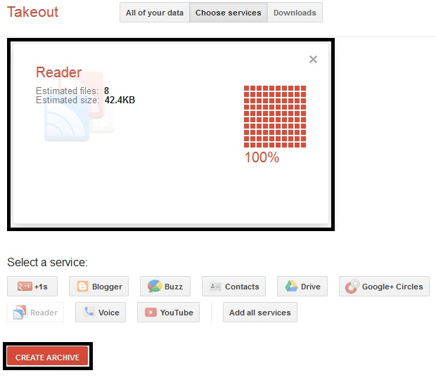 Google Takeout Reader Files