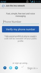 IMO Messenger Android Phone Number verify