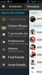 IMO Messenger Android Menu