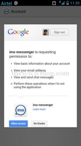 IMO Messenger Android Permission Gtalk