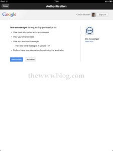 IMO Messenger iPad Permission