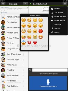IMO Messenger iPad Smileys