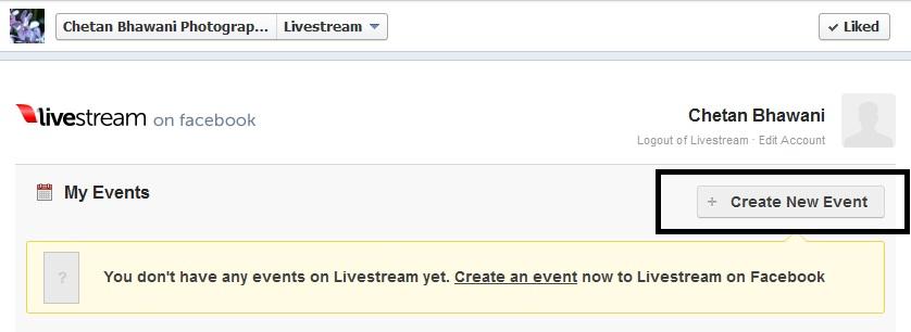 Livestream create new account