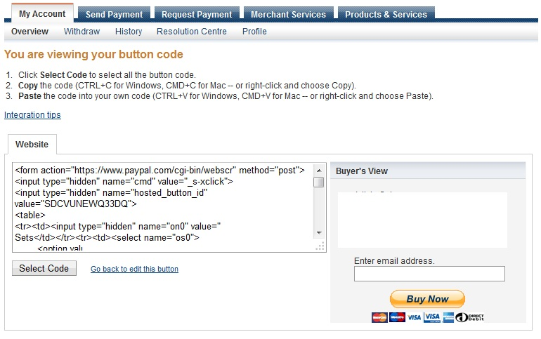 Paypal Button Created