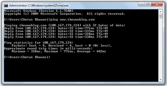 Ping Statistics Windows