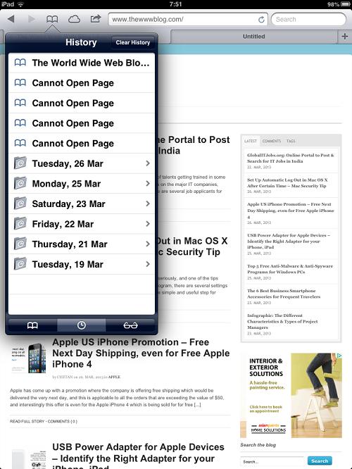Safari Browser History iPad