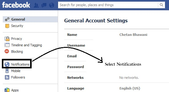 Select Notifications Settings