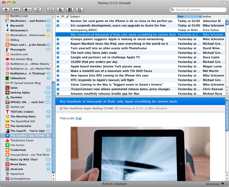 Vienna RSS – Free RSS/Atom Reader for Mac OS X – Download Customizable Native App