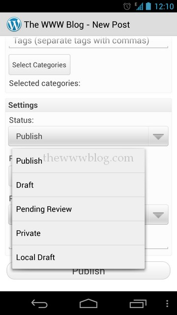 Wordpress Android App Publish options