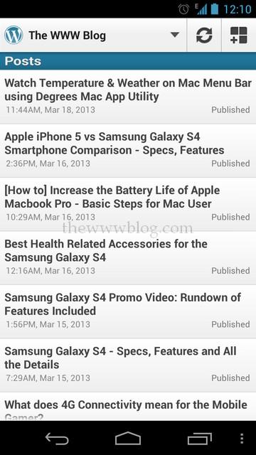 Wordpress Android App Post List