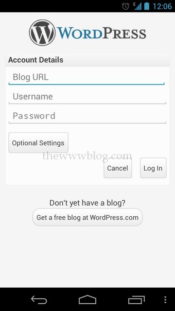 Wordpress Android App login