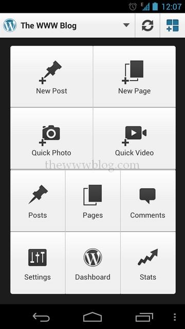 Wordpress Android App WP admin