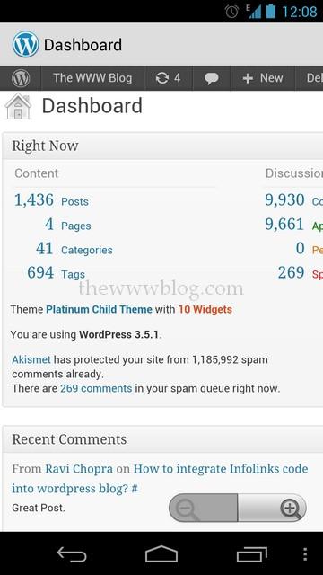 Wordpress Android App Dashboard