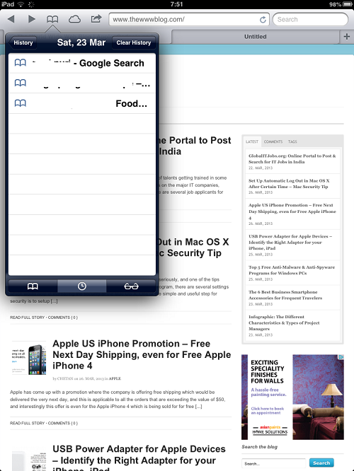 iPad Browsing History