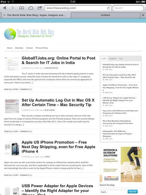 iPad Safari Browser
