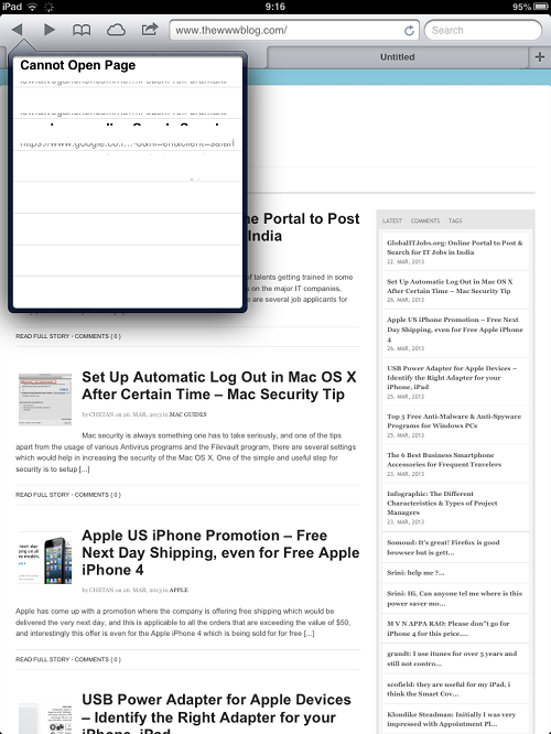iPad Tab Browsing History