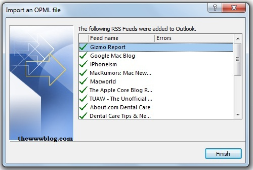 Feeds Added Outlook