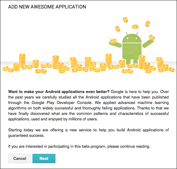 Google Play Add Awesome Application
