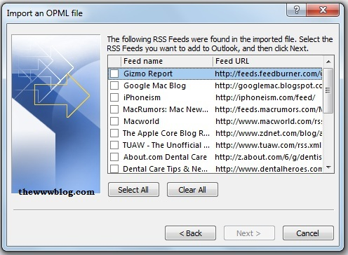 Import OPML File Select Feeds