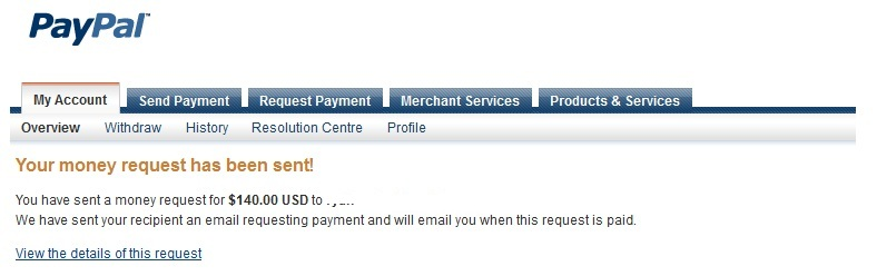 Paypal Request Sent