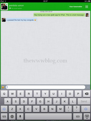 Tap to Chat iPad App Chat