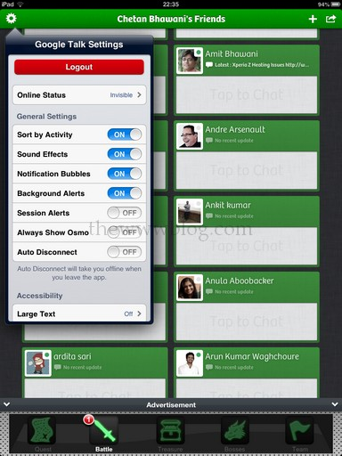 Tap to Chat iPad App Settings