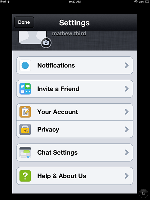 Kik messenger settings