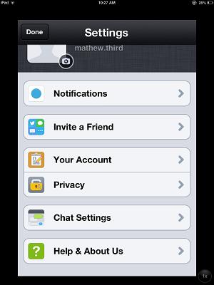 Kik messenger settings