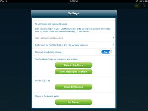 LogMeIn App iPad Settings