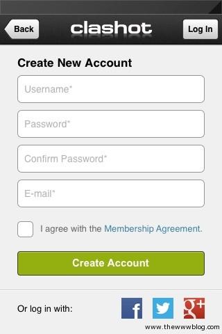 Clashot App Signup