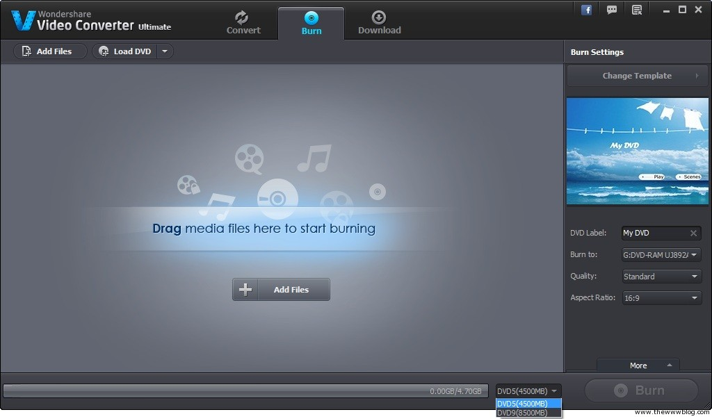 Wondershare Video Converter Ultimate DVD Burn