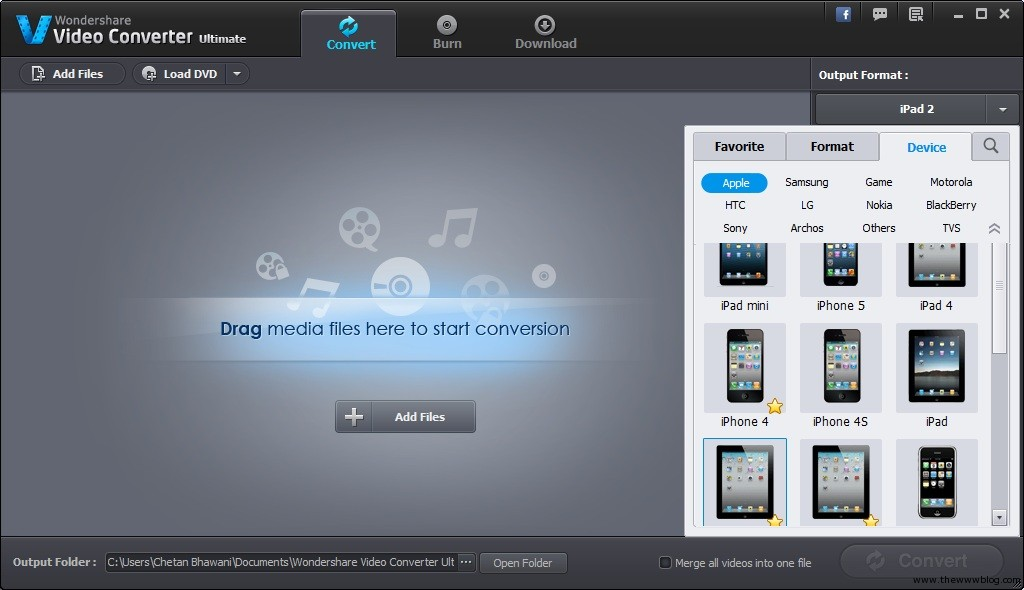 Wondershare Video Converter Ultimate Output