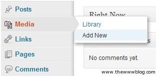Wordpress Media Add New
