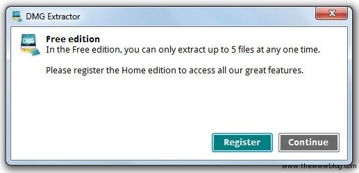 DMG Extractor Free Version Message