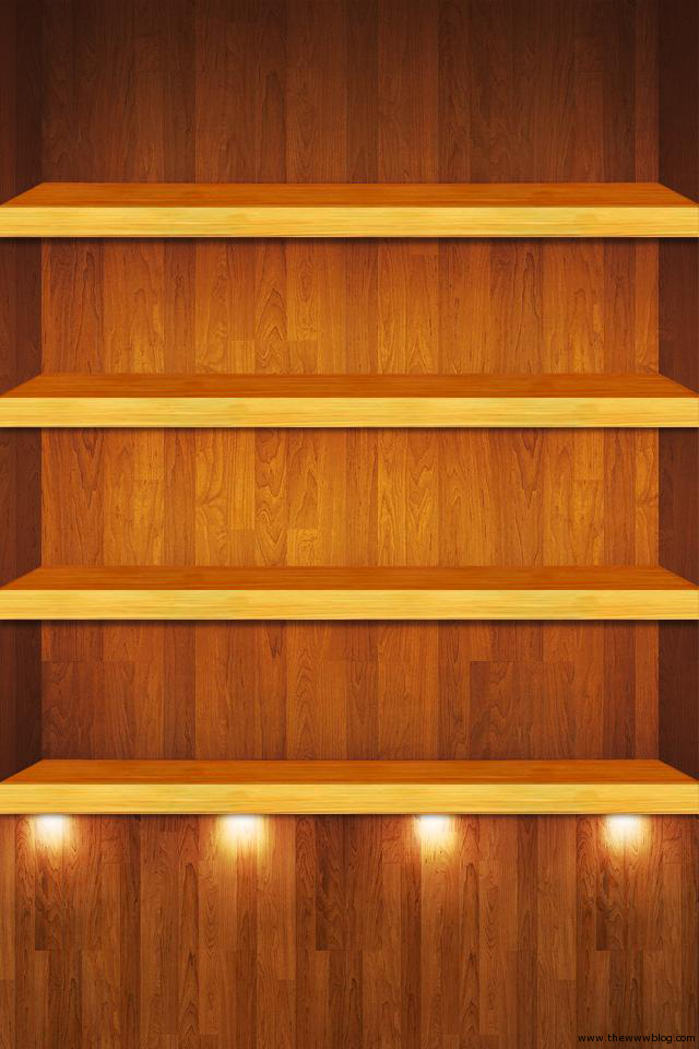 Wooden shining shelf iPhone wallpaper