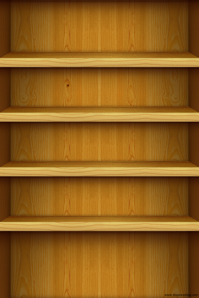 Light Wooden Shelves iPhone Wallpaper