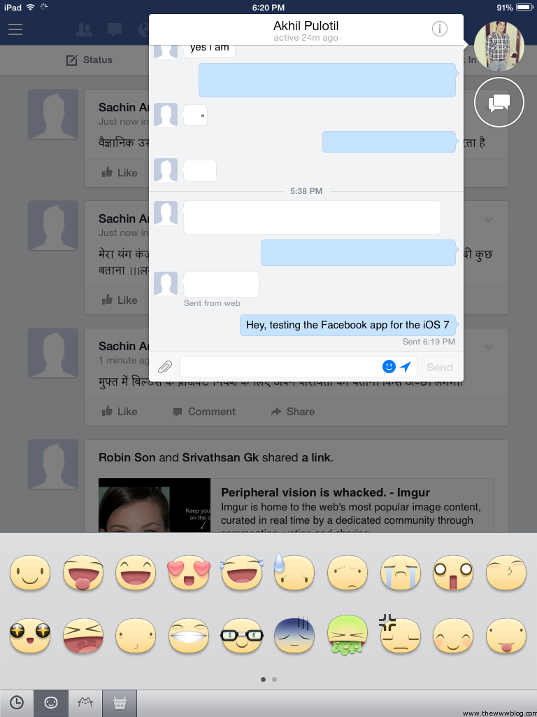 Facebook for iOS 7 Chat Smileys