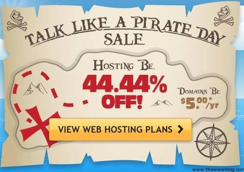"Hostgator 44.44% Discount on Web Hosting Plans for 1 Day – ""Talk Like a Pirate"" Day"