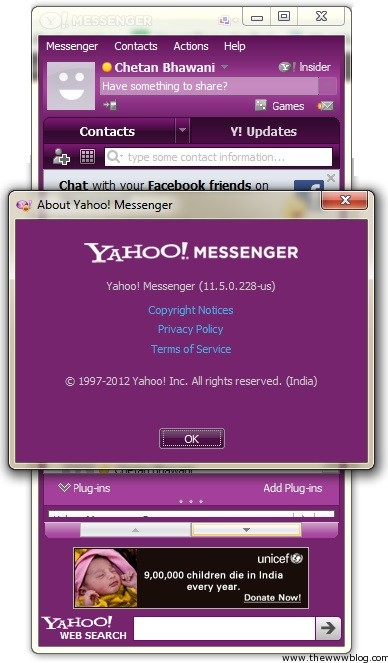 Yahoo Messenger for Windows About
