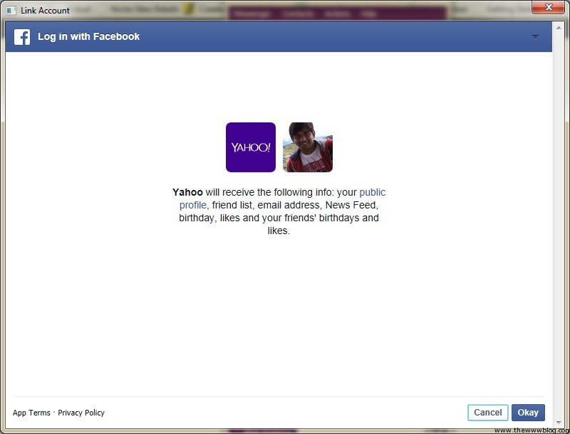 Yahoo Messenger for Windows Connect Facebook