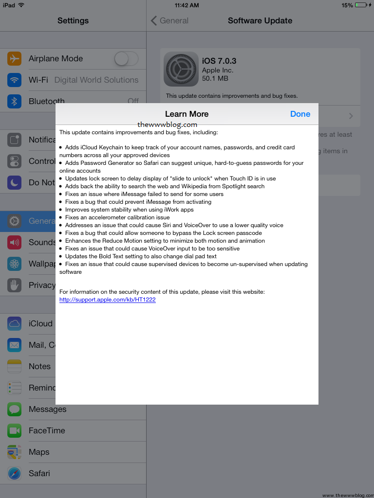 iOS 7.0.3 Update Changes
