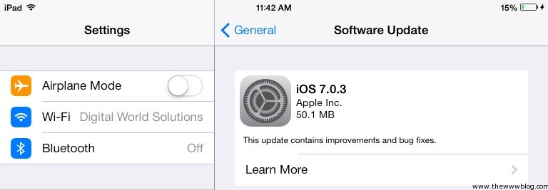 iOS 7.0.3 Update iPad
