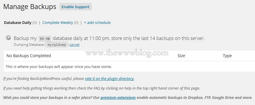 BackupWordpress Backing Up