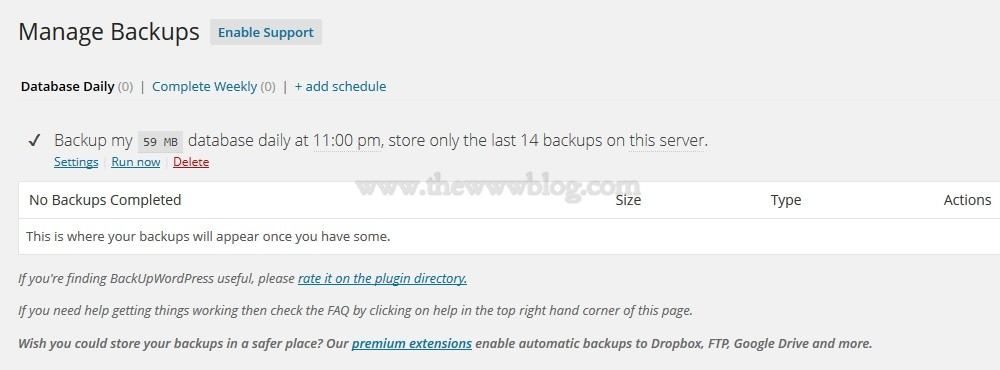 BackupWordpress Plugin