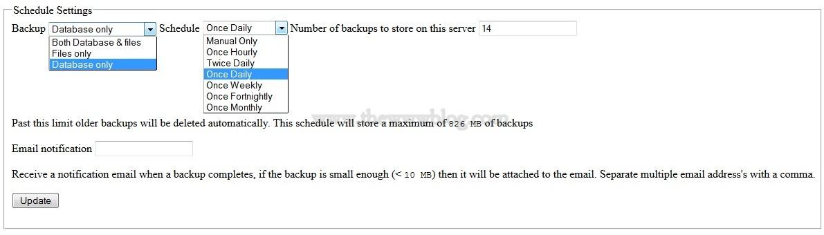 BackupWordpress Schedule Settings