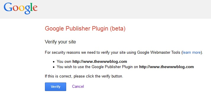 Google Publisher Plugin verify 2