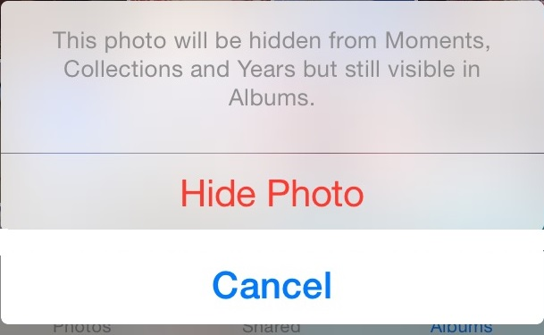 iOS 8 Hide Photo