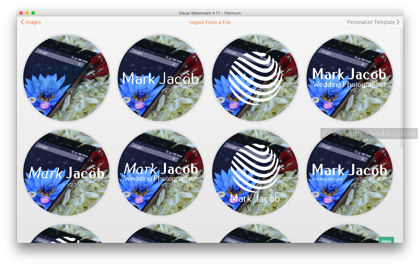Visual Watermark Select Watermark Type